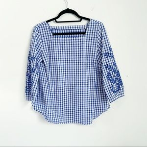 🛍 Gingham Embroidered Cut Out Square Neck Blouse